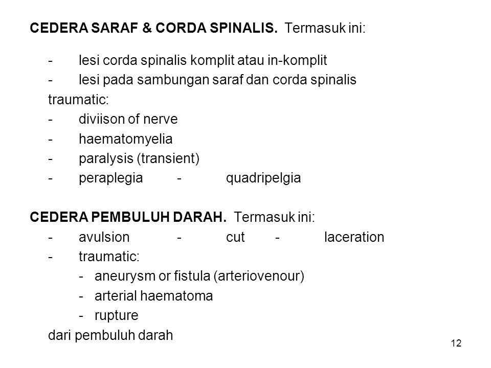 CEDERA SARAF & CORDA SPINALIS. Termasuk ini: