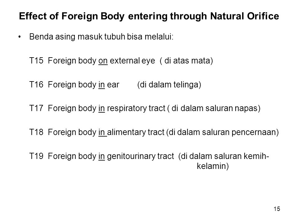 Effect of Foreign Body entering through Natural Orifice