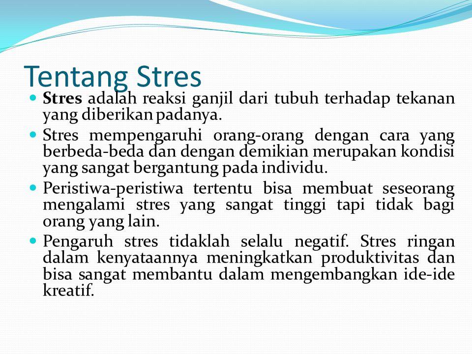 Tentang Stres Stres adalah reaksi ganjil dari tubuh terhadap tekanan yang diberikan padanya.