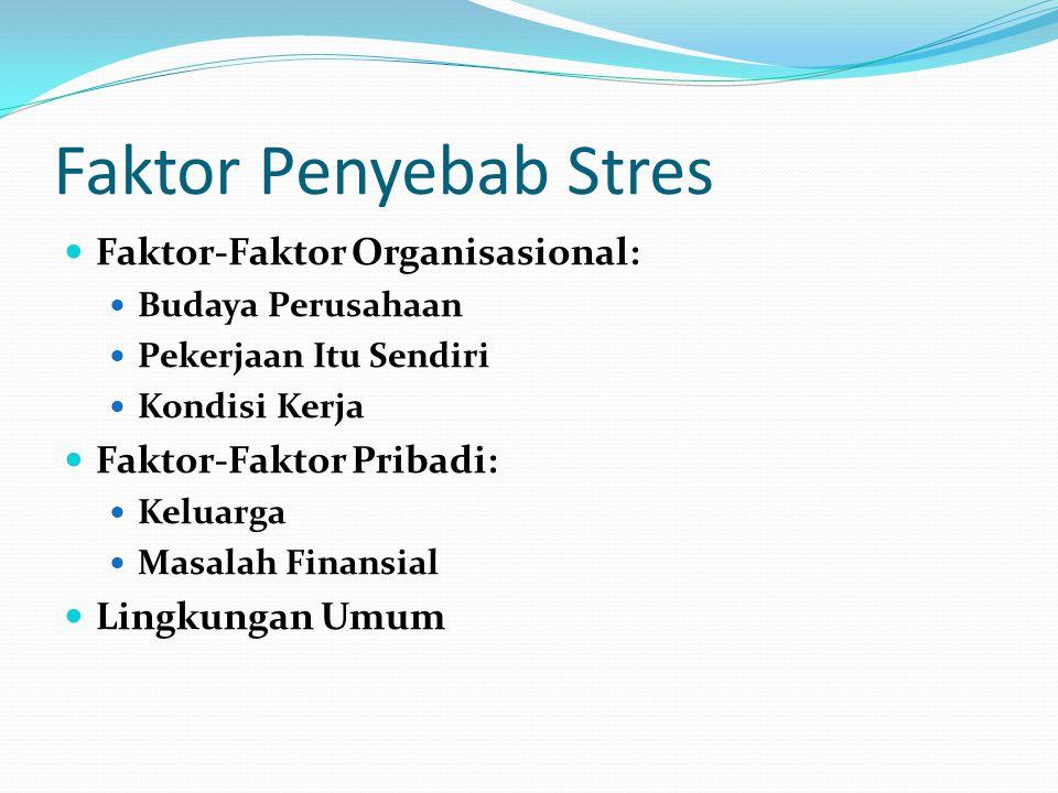 Faktor Penyebab Stres Faktor-Faktor Organisasional: