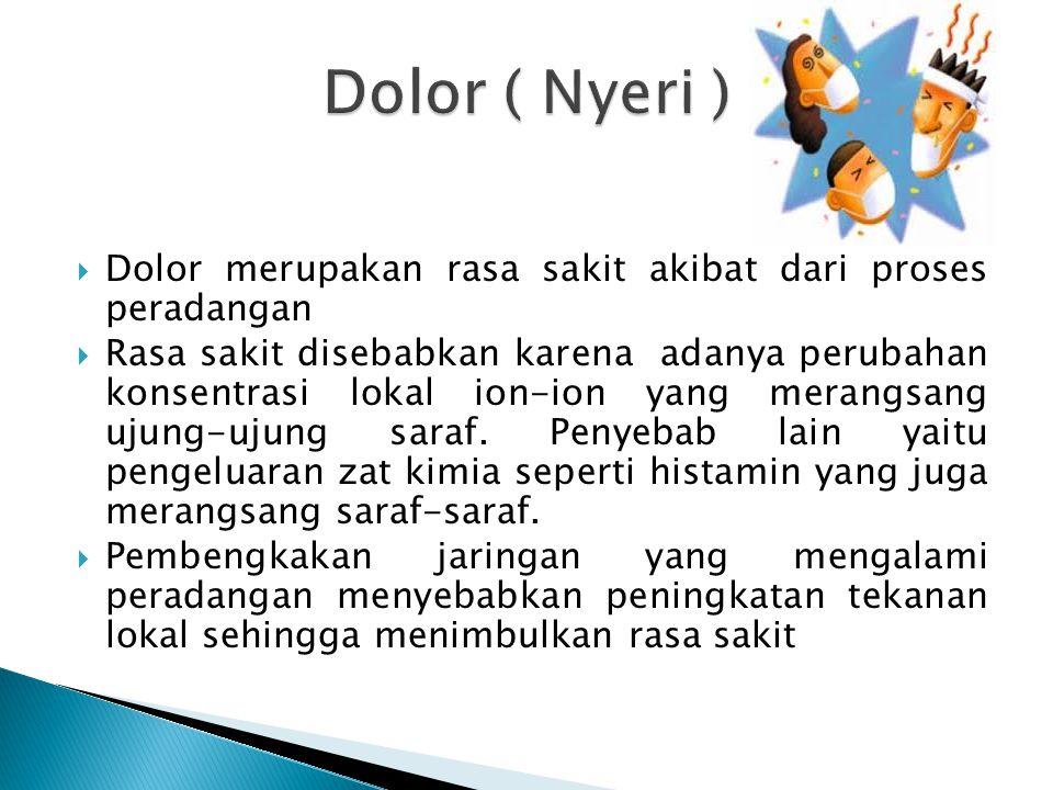 Dolor ( Nyeri ) Dolor merupakan rasa sakit akibat dari proses peradangan.