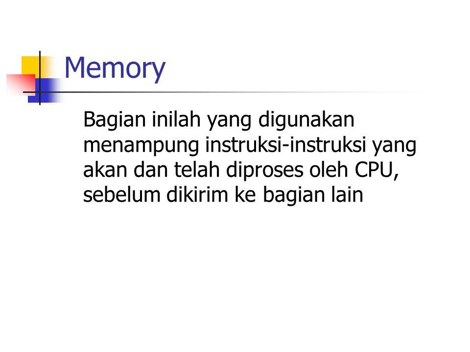 Memory Bagian inilah yang digunakan menampung instruksi-instruksi yang akan dan telah diproses oleh CPU, sebelum dikirim ke bagian lain.