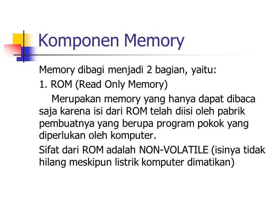 Komponen Memory Memory dibagi menjadi 2 bagian, yaitu: