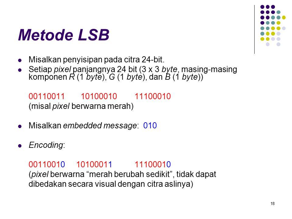 Metode LSB Misalkan penyisipan pada citra 24-bit.