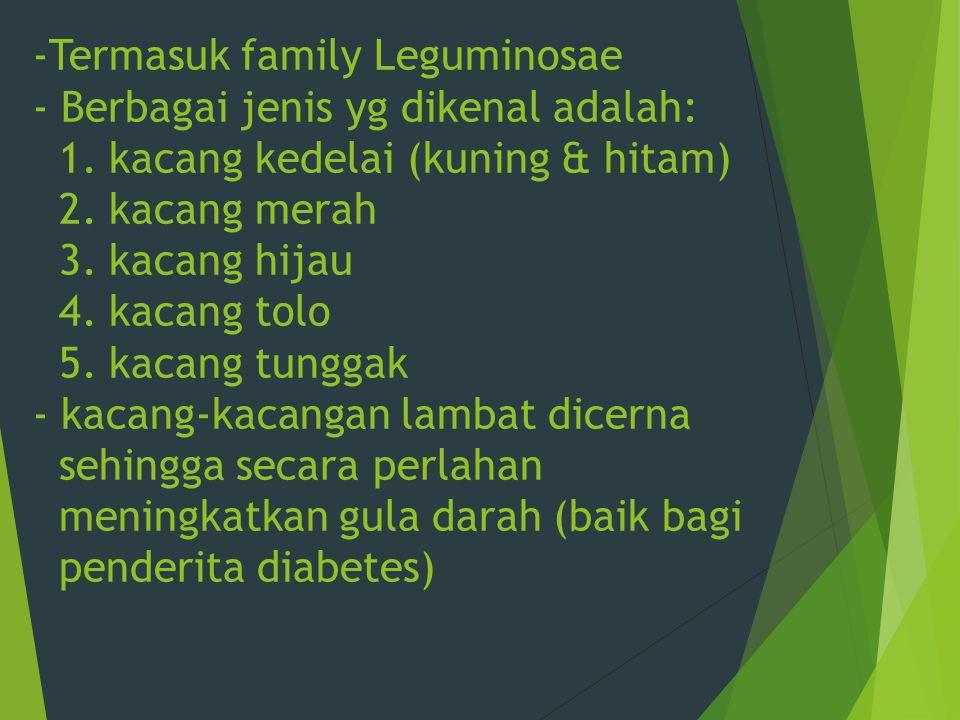 -Termasuk family Leguminosae - Berbagai jenis yg dikenal adalah: 1