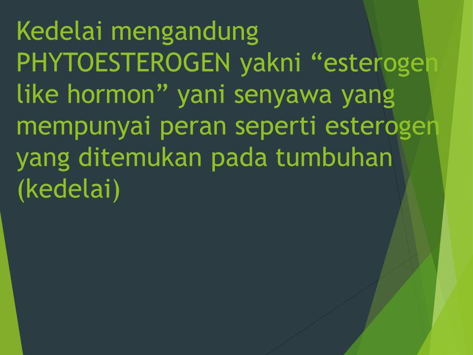 Kedelai mengandung PHYTOESTEROGEN yakni esterogen like hormon yani senyawa yang mempunyai peran seperti esterogen yang ditemukan pada tumbuhan (kedelai)