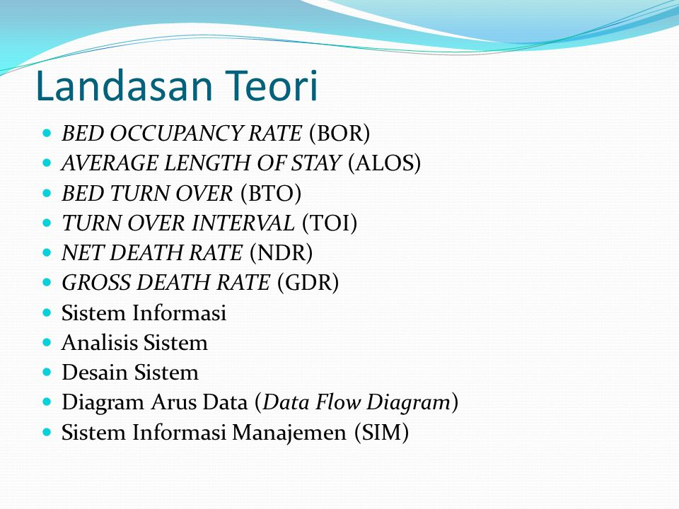 Landasan Teori BED OCCUPANCY RATE (BOR) AVERAGE LENGTH OF STAY (ALOS)