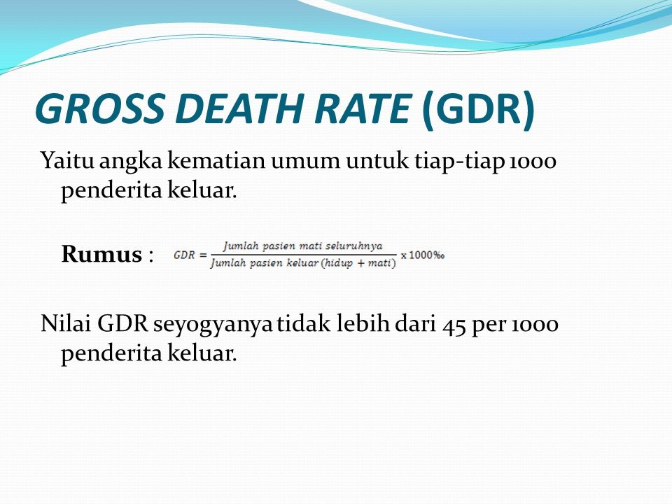 GROSS DEATH RATE (GDR)