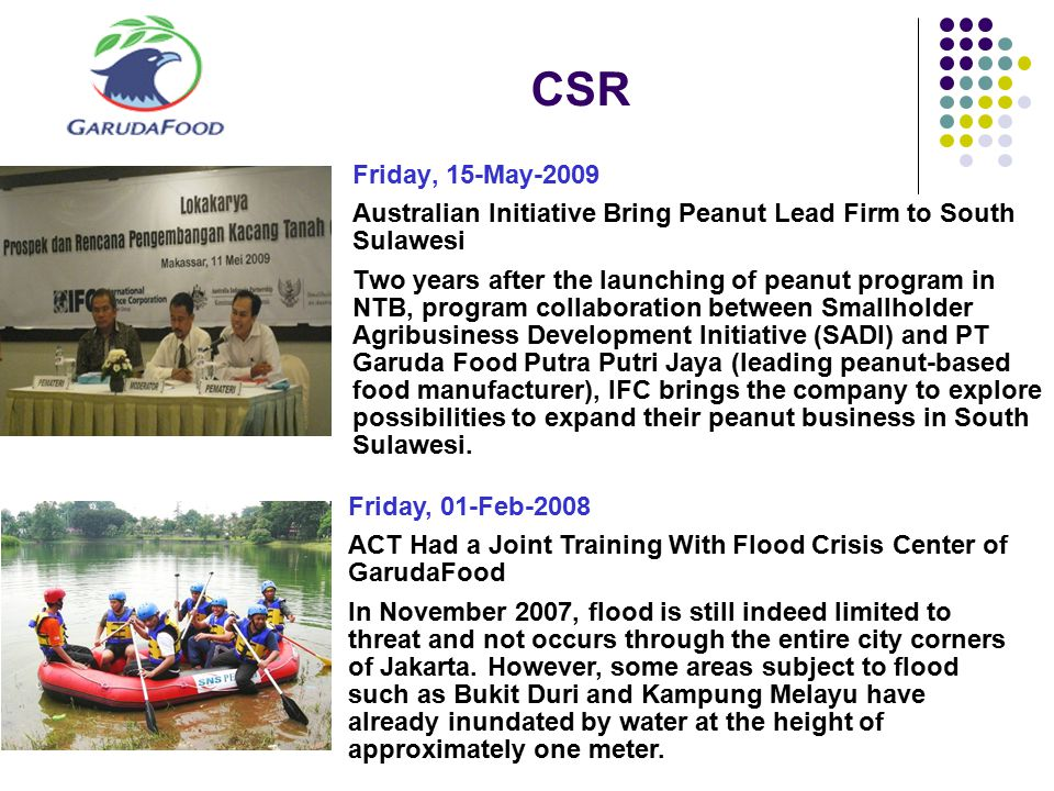 CSR Friday, 15-May-2009. Australian Initiative Bring Peanut Lead Firm to South Sulawesi.