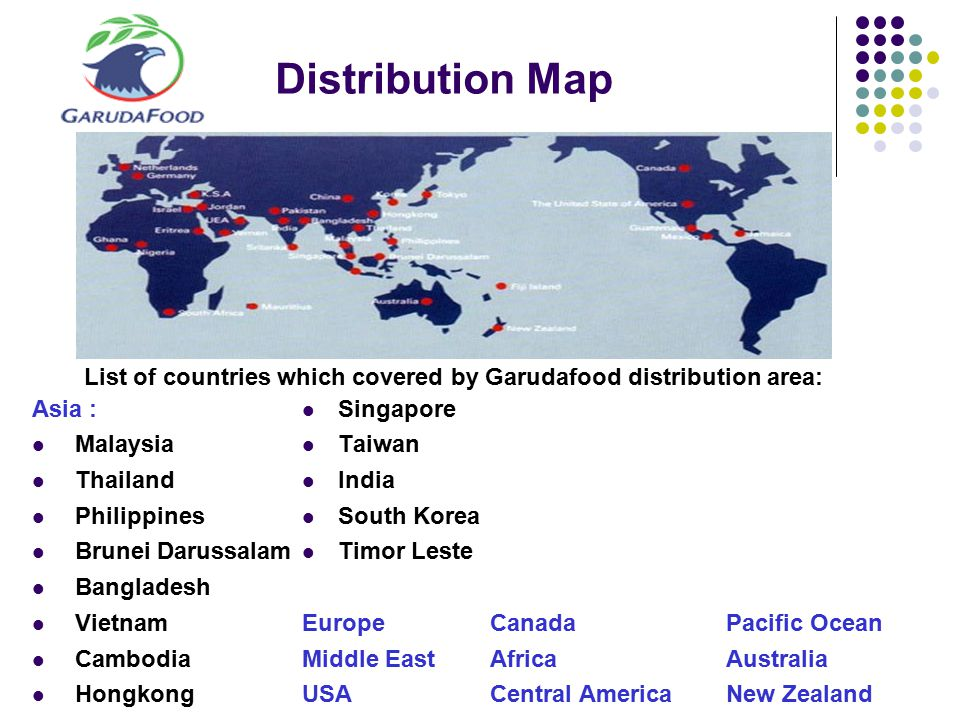 List of countries which covered by Garudafood distribution area: