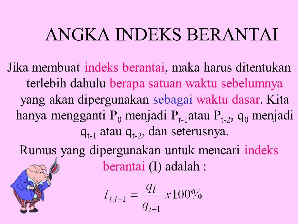 Rumus yang dipergunakan untuk mencari indeks berantai (I) adalah :