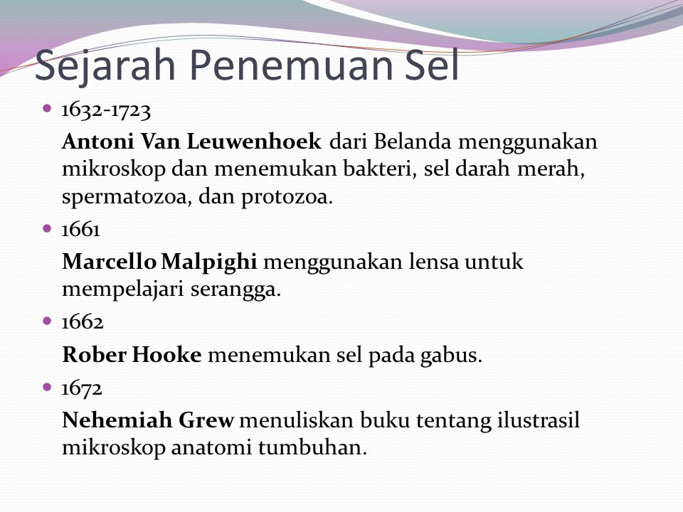 Sejarah Penemuan Sel 1632-1723.