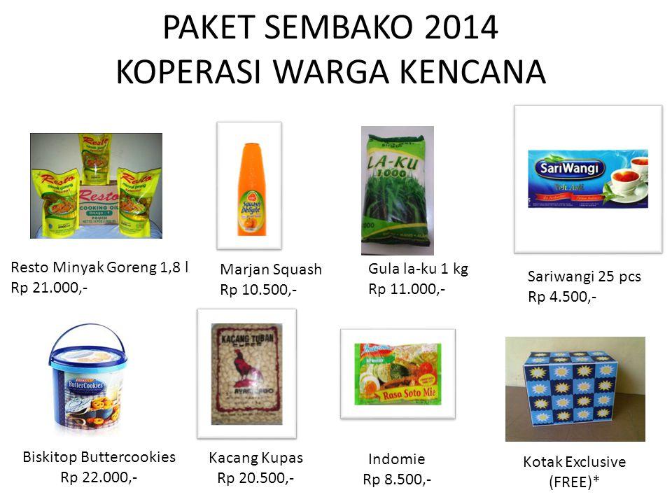 PAKET SEMBAKO 2014 KOPERASI WARGA KENCANA