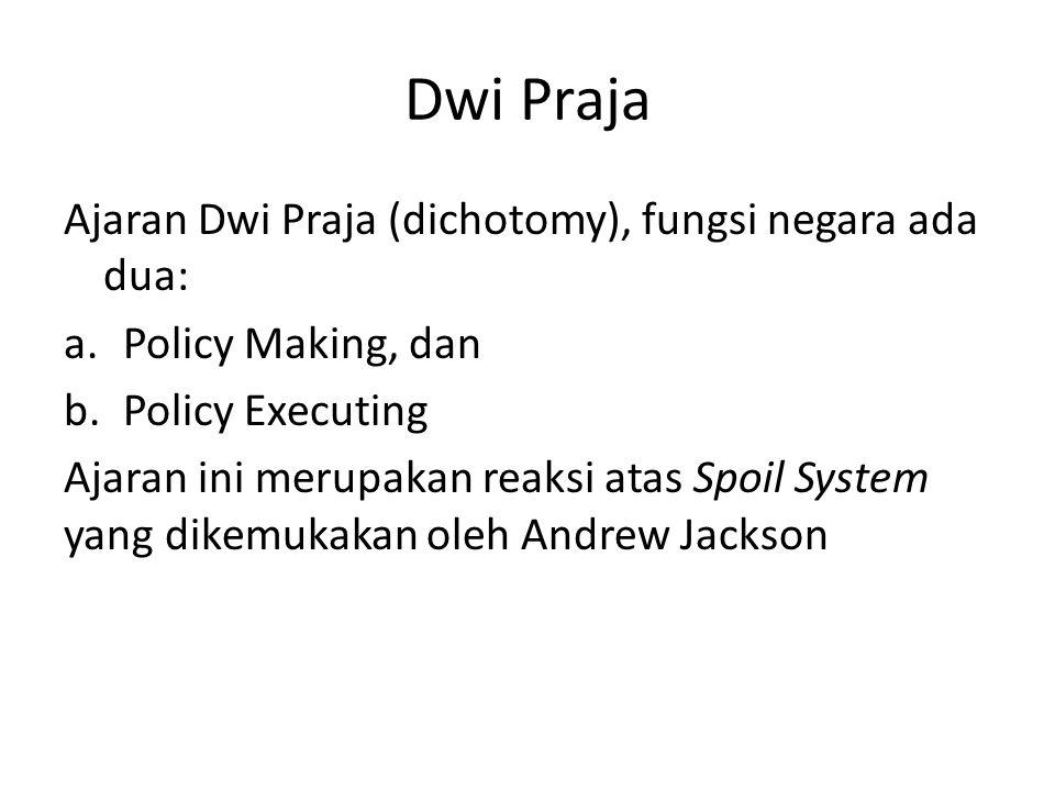 Dwi Praja Ajaran Dwi Praja (dichotomy), fungsi negara ada dua: