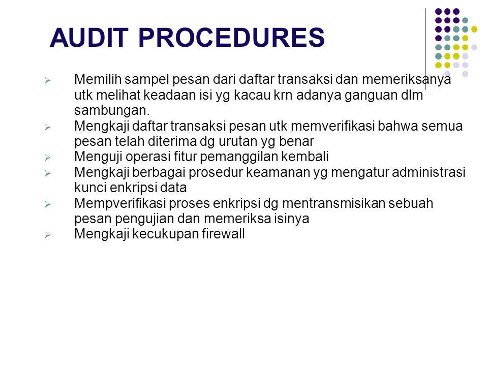 AUDIT PROCEDURES Memilih sampel pesan dari daftar transaksi dan memeriksanya utk melihat keadaan isi yg kacau krn adanya ganguan dlm sambungan.