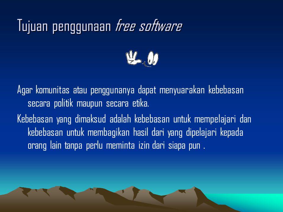 Tujuan penggunaan free software
