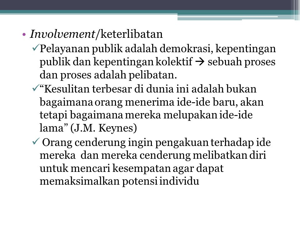 Involvement/keterlibatan