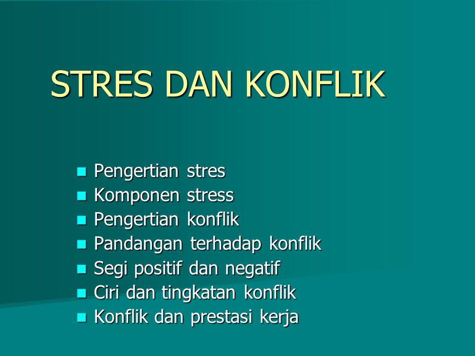 STRES DAN KONFLIK Pengertian stres Komponen stress Pengertian konflik