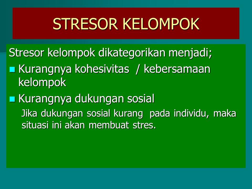 STRESOR KELOMPOK Stresor kelompok dikategorikan menjadi;