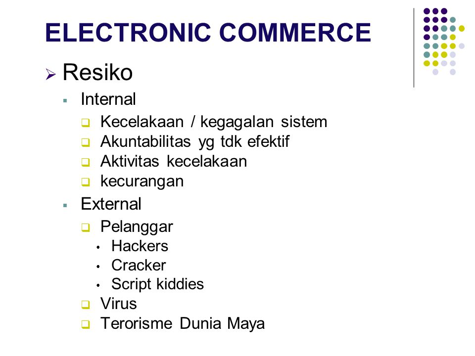 ELECTRONIC COMMERCE Resiko Internal External
