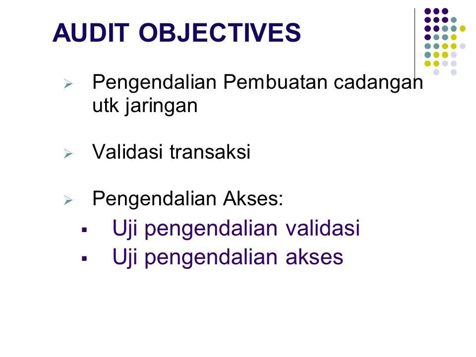 AUDIT OBJECTIVES Uji pengendalian validasi Uji pengendalian akses