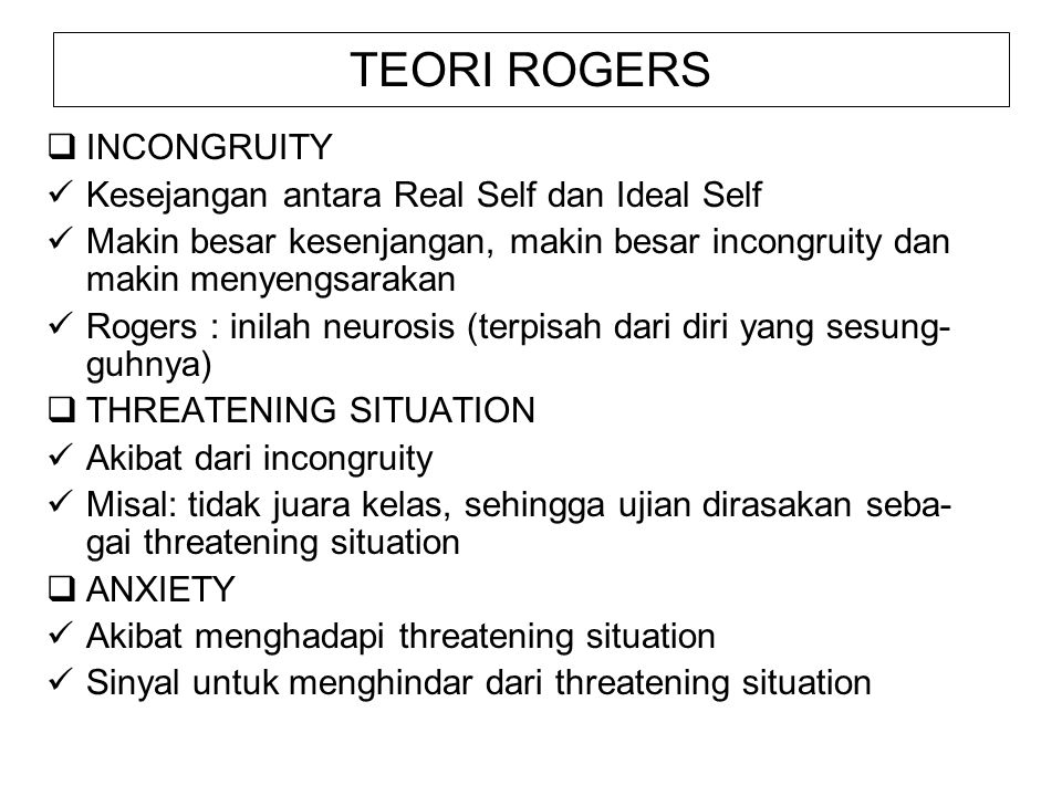 TEORI ROGERS INCONGRUITY Kesejangan antara Real Self dan Ideal Self