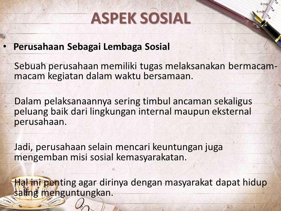 ASPEK SOSIAL Perusahaan Sebagai Lembaga Sosial
