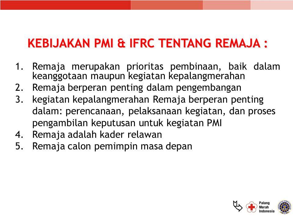 KEBIJAKAN PMI & IFRC TENTANG REMAJA :