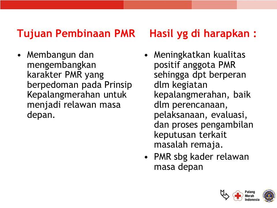 Tujuan Pembinaan PMR Hasil yg di harapkan :