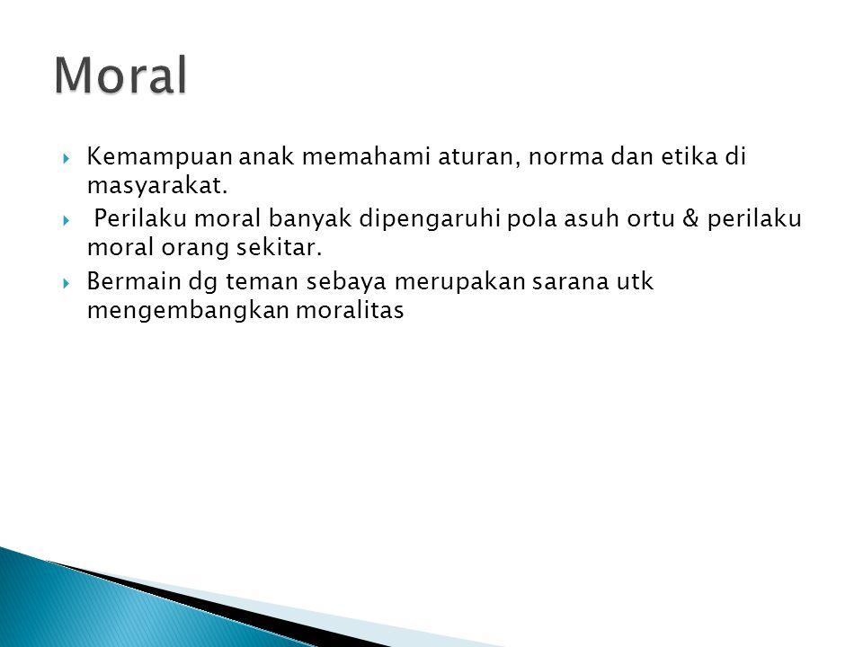 Moral Kemampuan anak memahami aturan, norma dan etika di masyarakat.