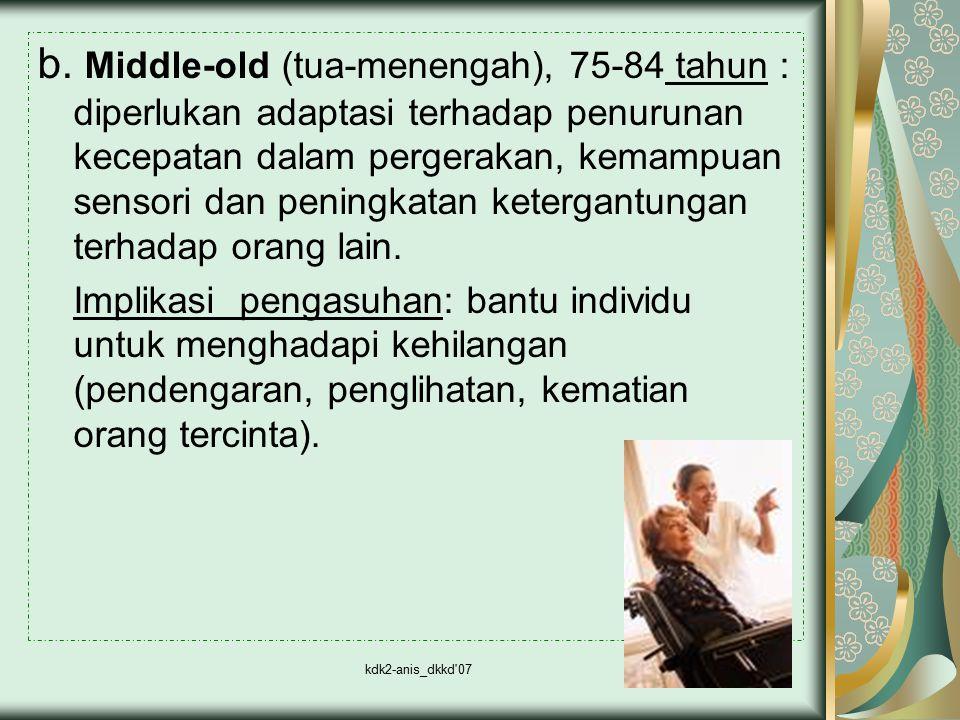 b. Middle-old (tua-menengah), 75-84 tahun : diperlukan adaptasi terhadap penurunan kecepatan dalam pergerakan, kemampuan sensori dan peningkatan ketergantungan terhadap orang lain.