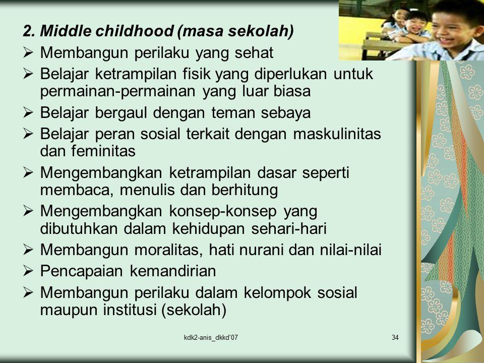2. Middle childhood (masa sekolah) Membangun perilaku yang sehat