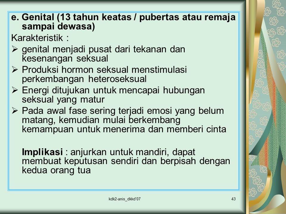 e. Genital (13 tahun keatas / pubertas atau remaja sampai dewasa)