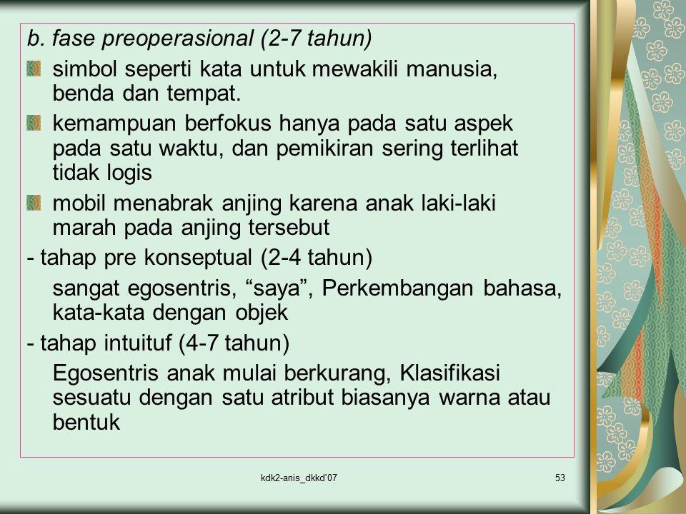 b. fase preoperasional (2-7 tahun)