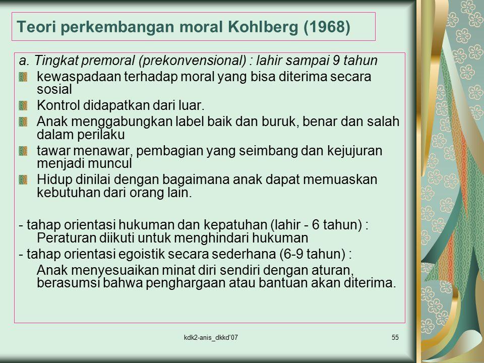 Teori perkembangan moral Kohlberg (1968)