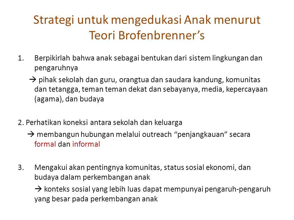 Strategi untuk mengedukasi Anak menurut Teori Brofenbrenner's