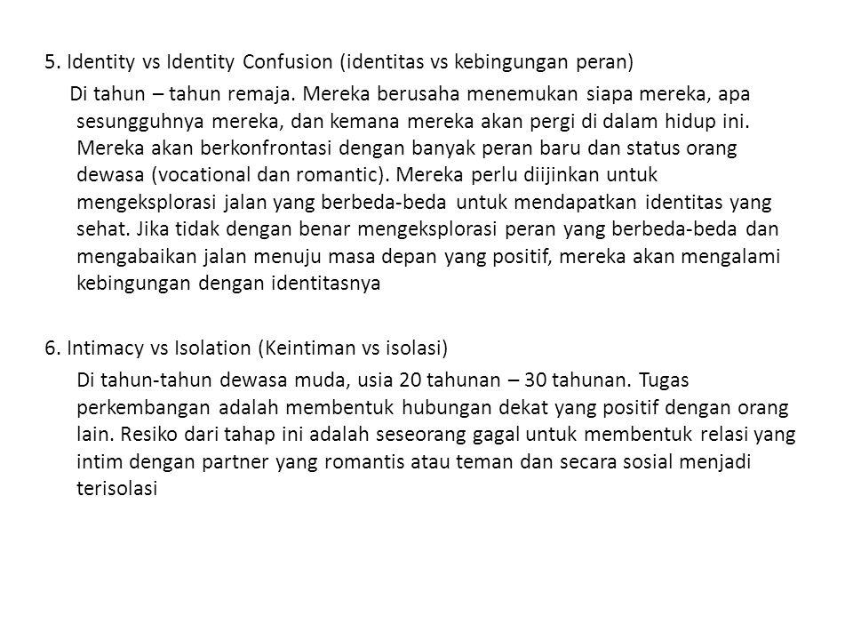 5. Identity vs Identity Confusion (identitas vs kebingungan peran) Di tahun – tahun remaja.