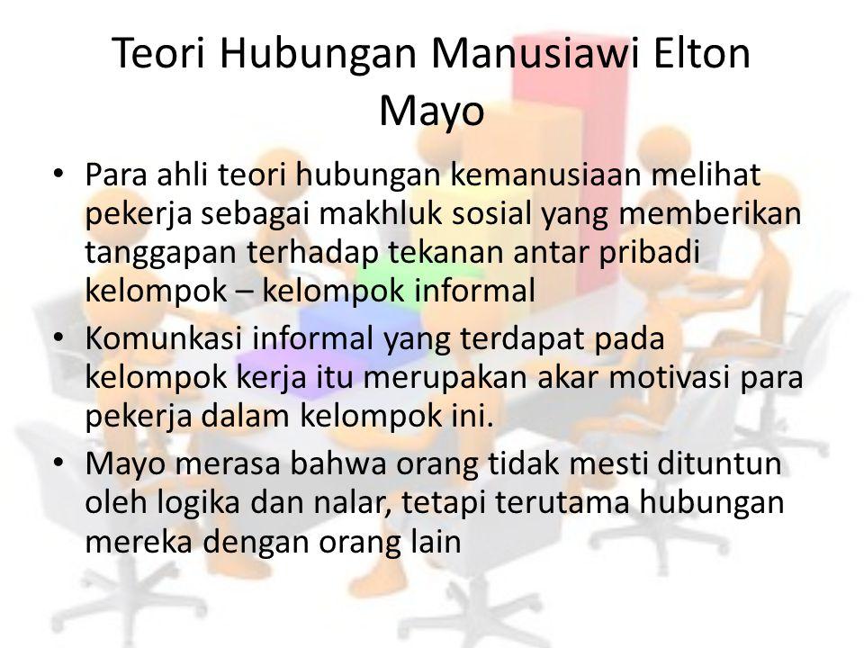 Teori Hubungan Manusiawi Elton Mayo