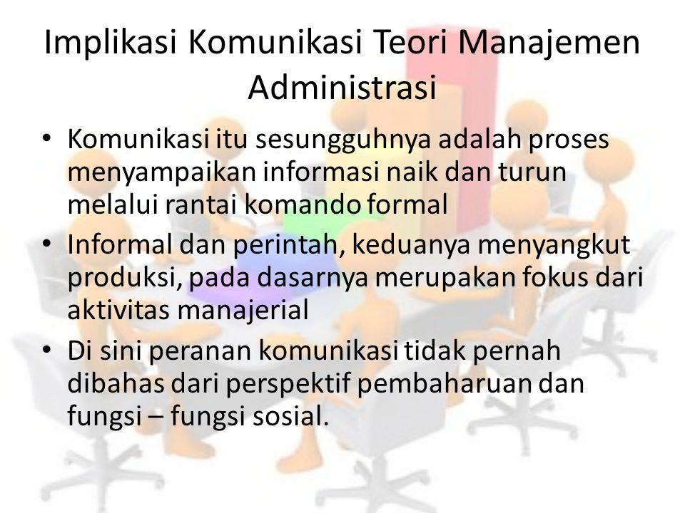 Implikasi Komunikasi Teori Manajemen Administrasi