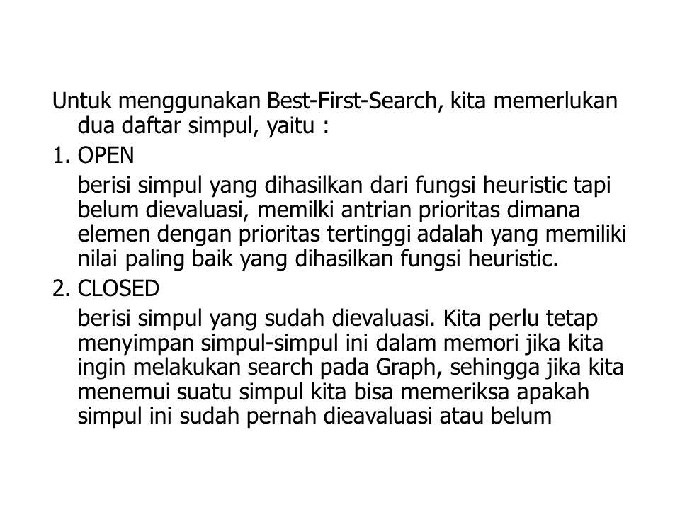 Untuk menggunakan Best-First-Search, kita memerlukan dua daftar simpul, yaitu :