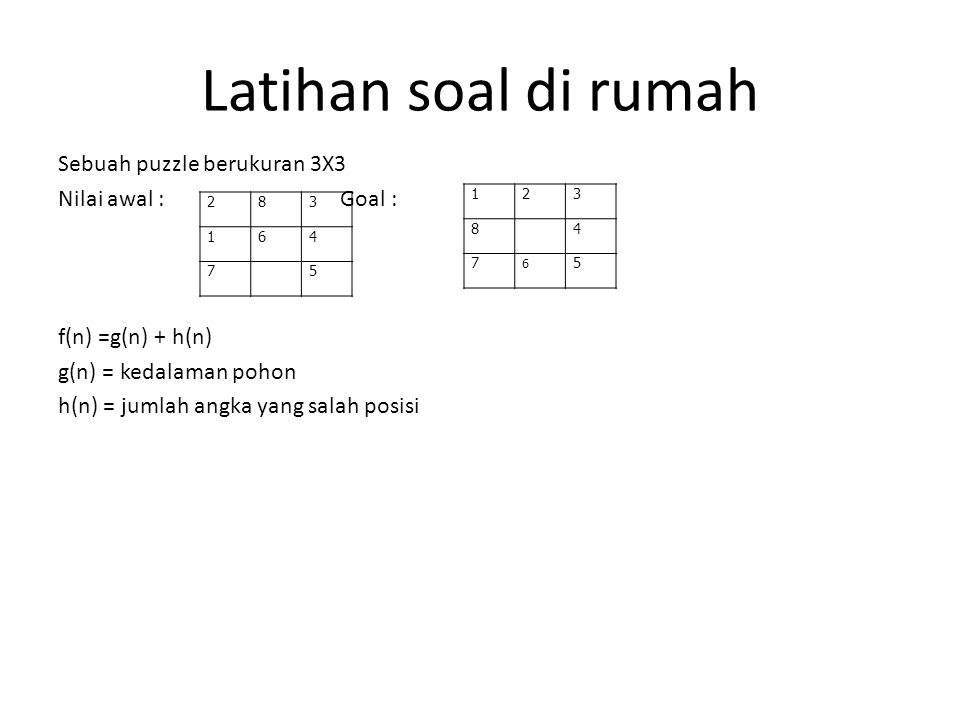 Latihan soal di rumah Sebuah puzzle berukuran 3X3 Nilai awal : Goal : f(n) =g(n) + h(n) g(n) = kedalaman pohon h(n) = jumlah angka yang salah posisi