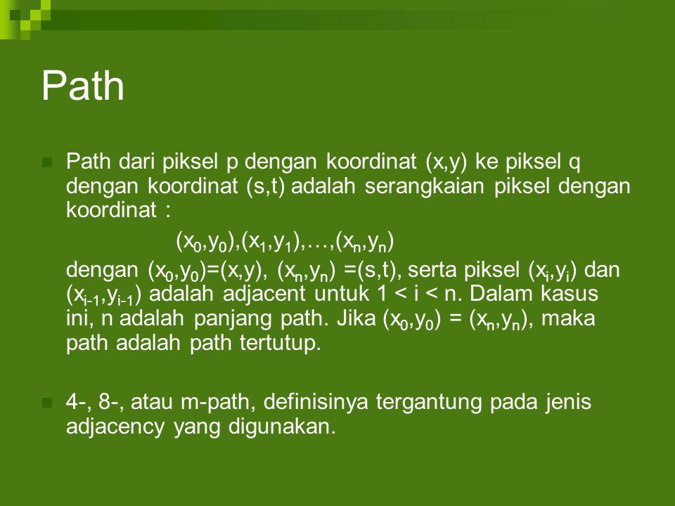Path Path dari piksel p dengan koordinat (x,y) ke piksel q dengan koordinat (s,t) adalah serangkaian piksel dengan koordinat :