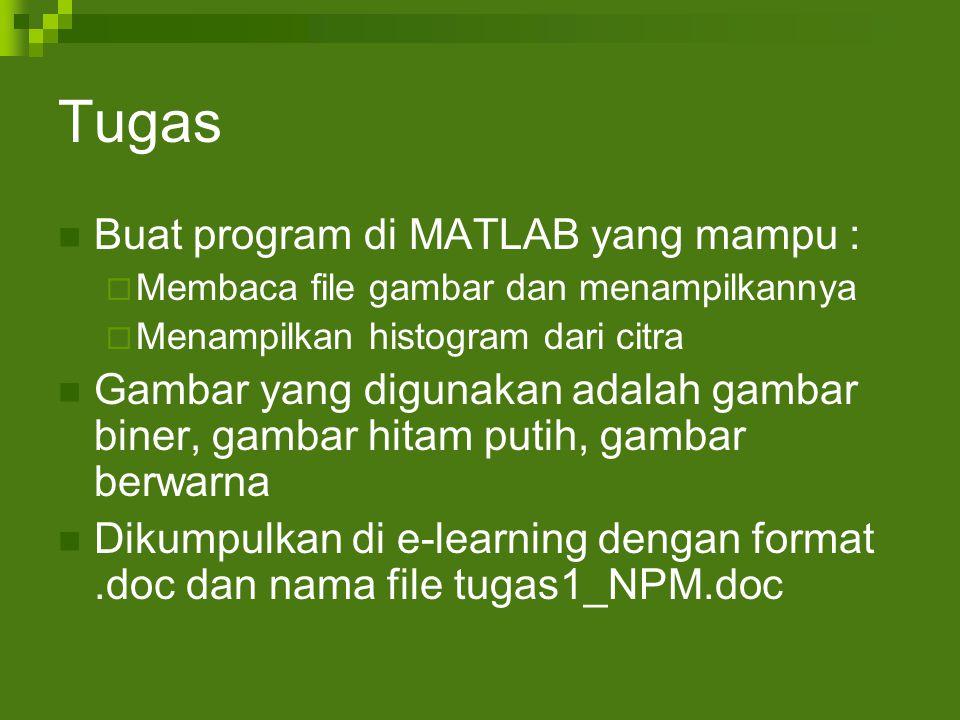Tugas Buat program di MATLAB yang mampu :