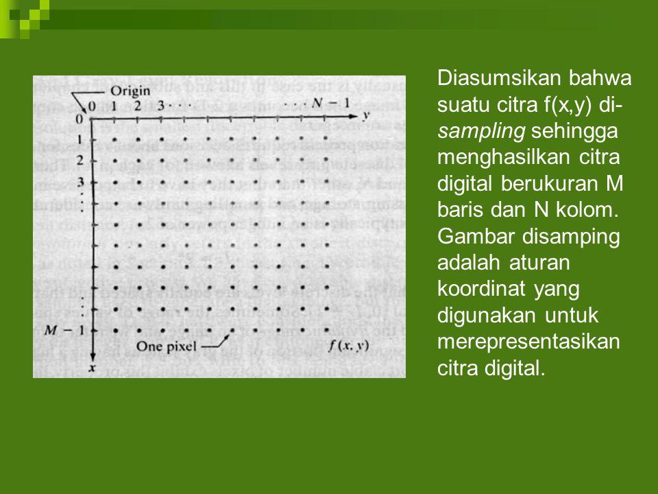Diasumsikan bahwa suatu citra f(x,y) di-sampling sehingga menghasilkan citra digital berukuran M baris dan N kolom.