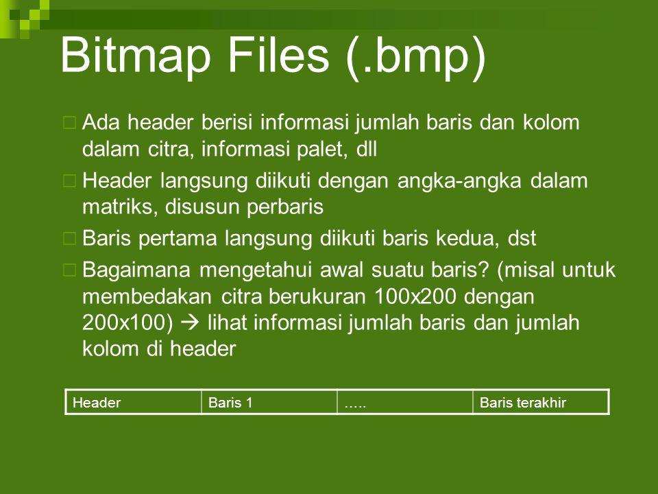 Bitmap Files (.bmp) Ada header berisi informasi jumlah baris dan kolom dalam citra, informasi palet, dll.