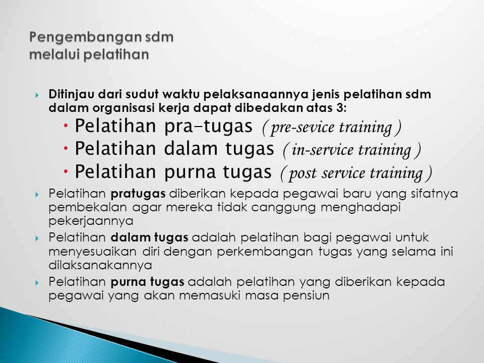 Pengembangan sdm melalui pelatihan