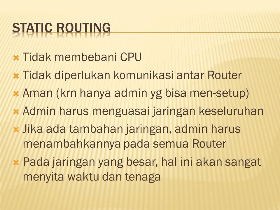 Static routing Tidak membebani CPU
