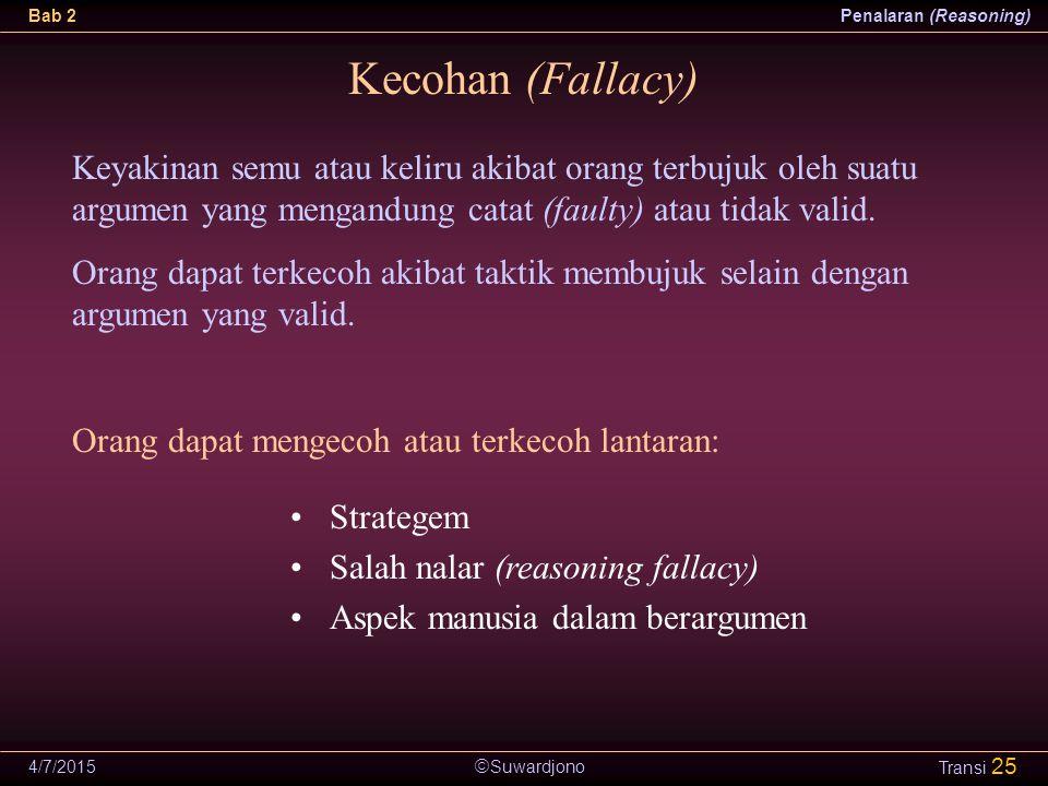 Kecohan (Fallacy) Keyakinan semu atau keliru akibat orang terbujuk oleh suatu argumen yang mengandung catat (faulty) atau tidak valid.