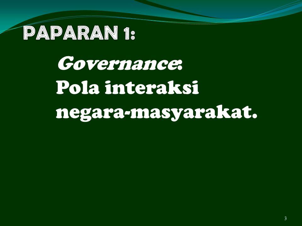 PAPARAN 1: Governance: Pola interaksi negara-masyarakat.