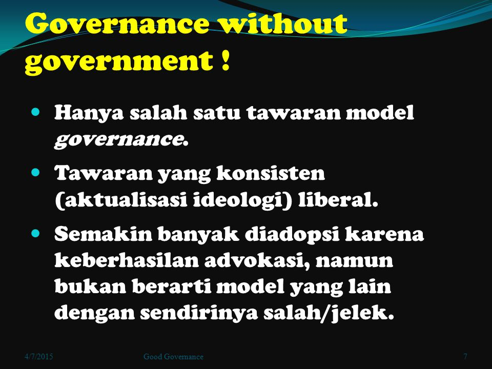 Governance without government !